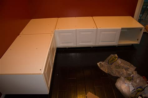 ikea cabinet banquette part 4 of a tutorial on building diy kitchen banquette seating