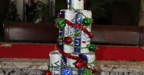created  christmas tree   full cans  beer   friend     clear