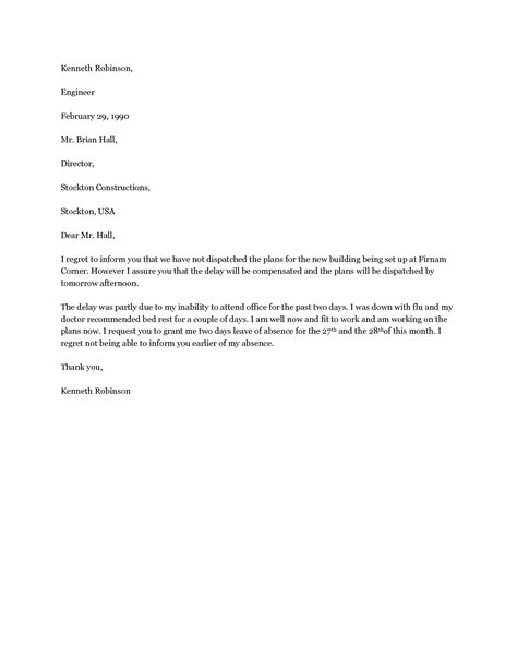 Sle Letter Granting Leave Of Absence sle letter requesting leave of absence due to family