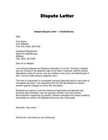 Dispute Credit Report Letter To Agency Credit Dispute Letter Template Template Design
