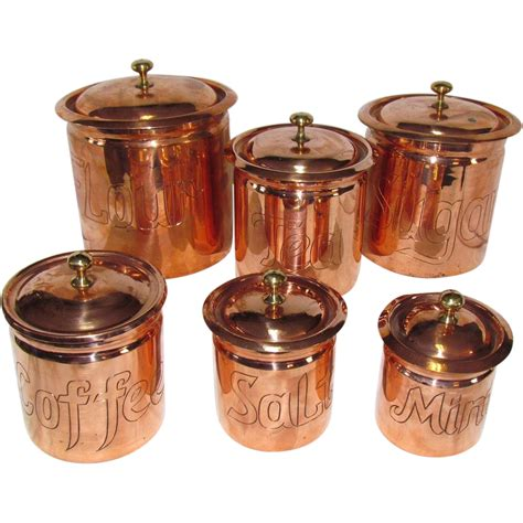 copper kitchen canister sets the best set of copper kitchen canisters i ve seen from rubylane sold on ruby lane