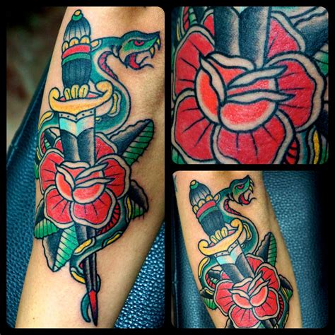 italian rose tattoo dagger with and snake traditional francesco