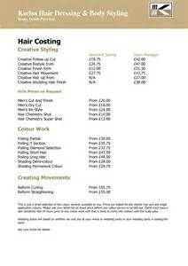 hairdressers play price list free early years 11