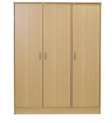 three door wardrobe in beech finish by mintwud by mintwud