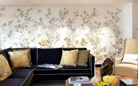 hand painted chinese silk wallpaper chinoiserie floral pattern interior design ideas ofdesign