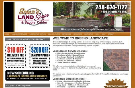 website design marketing for landscape supplier