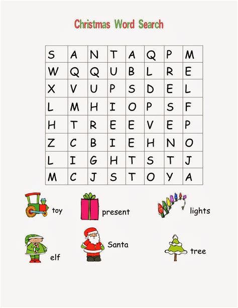 5 Christmas Word Search For Kids Easy Picture Search For