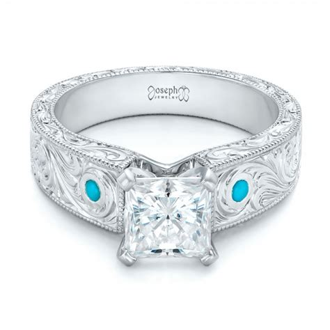 Wedding Rings With Turquoise by Custom And Turquoise Engagement Ring 102366