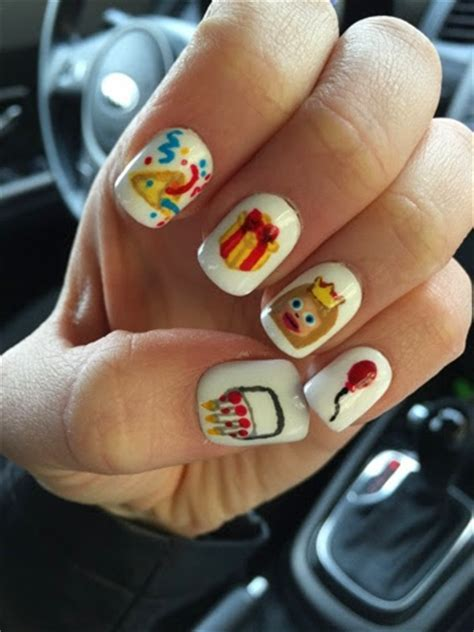 birthday themed nails manicure what ails you birthday emoji nails