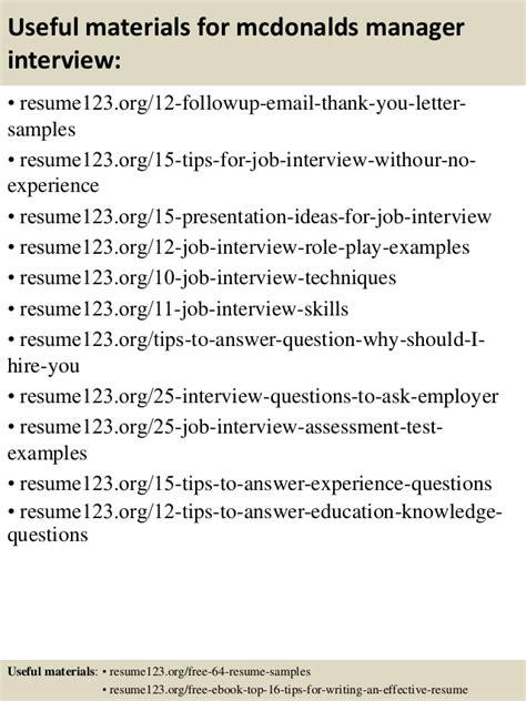 mcdonalds manager resume sle top 8 mcdonalds manager resume sles