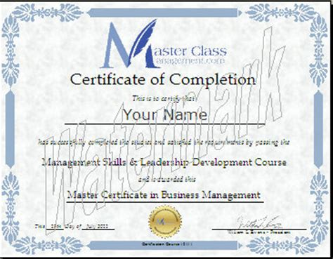 Certification Letter Philippines Editable business management certification course certificate of