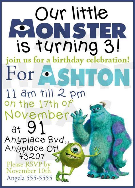 Monsters Inc Birthday Custom Digital Invitation My Heart Has Ears Monsters Inc Birthday Invitations Template