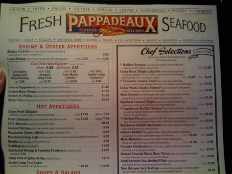 pappadeaux seafood kitchen menu and prices pricely