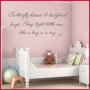 Butterfly kisses childrens baby nursery word art wall sticker decals