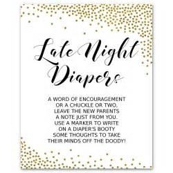 gold confetti late night diapers baby shower game