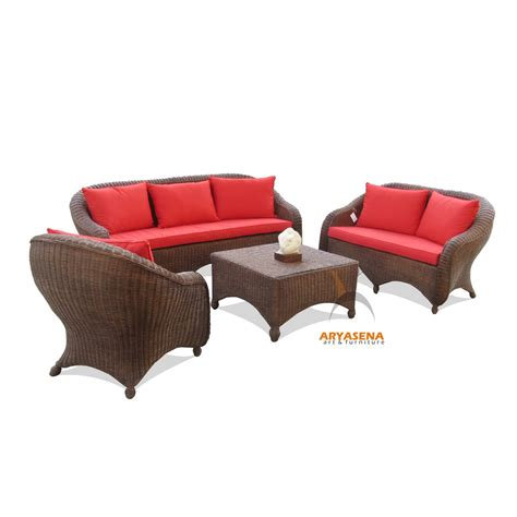 wicker sofa sets skr 22 sofa set nature rattan with red cushion