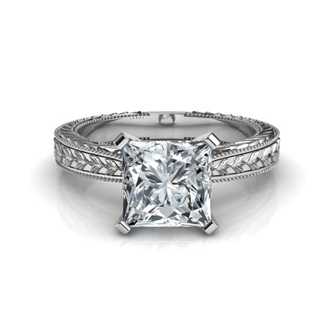 engraved princess cut solitaire engagement ring