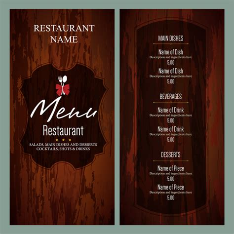vintage restaurant menu templates free vector in adobe