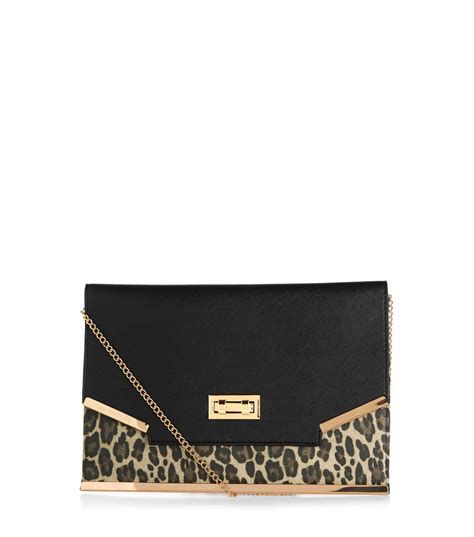 Panel Clutch black leopard print panel clutch handbags uk