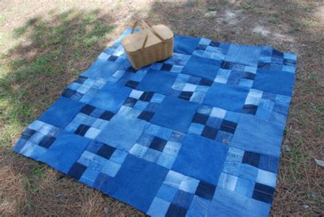 jeans blanket pattern denim quilted picnic blanket upcycled blue jeans