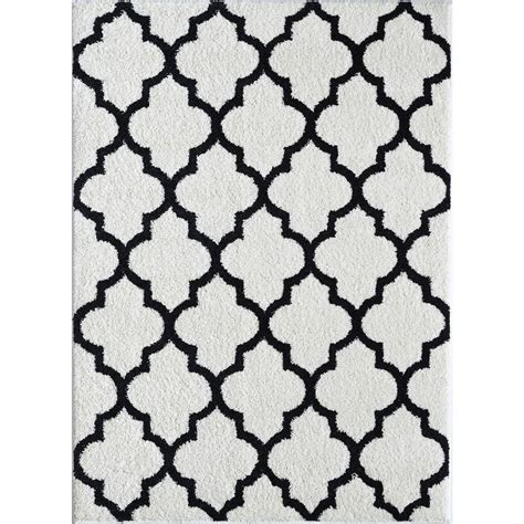 black and white accent rug tayse rugs modern shag white black 5 ft 3 in x 7 ft 3