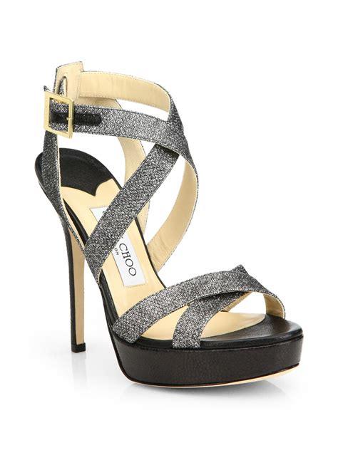 jimmy choo platform sandals jimmy choo v glitter coated leather platform sandals in