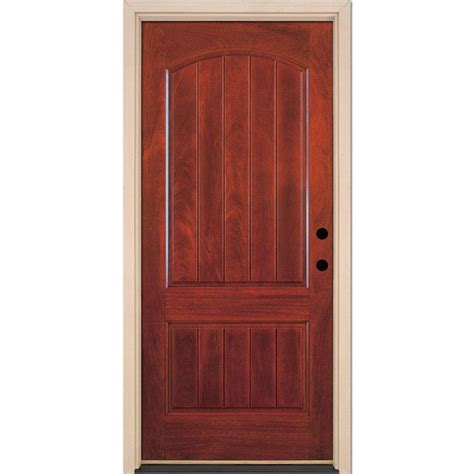 Prehung Fiberglass Exterior Doors Feather River Doors 37 5 In X 81 625 In 2 Panel Plank Cherry Mahogany Stained Left