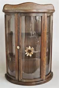 Antique Mini Curio Cabinet Curved Glass Curio Cabinet Mini Wall Hanging Or Tabletop 13 X