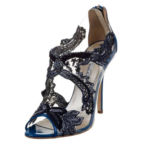black flower shoes oscar de la renta new blue black floral beaded flower