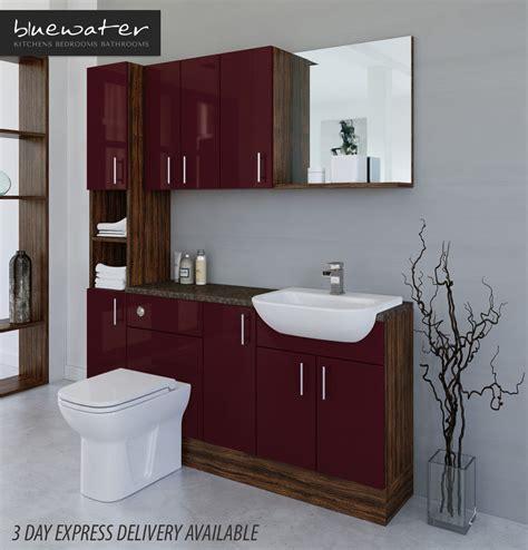 Burgundy Bathroom Wall Burgundy Olivewood Bathroom Fitted Furniture 1700mm