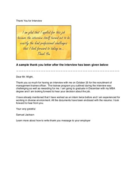 Thank You Letter For Mba Thank You Letter Sle Mba Best Free Home Design Idea Inspiration