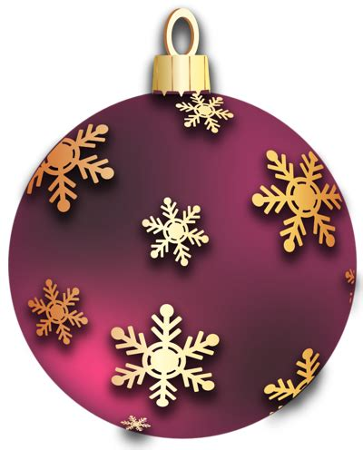 Transparent Red Christmas Ball with Golden Snowflakes ... Free Christmas Ornaments Clip Art