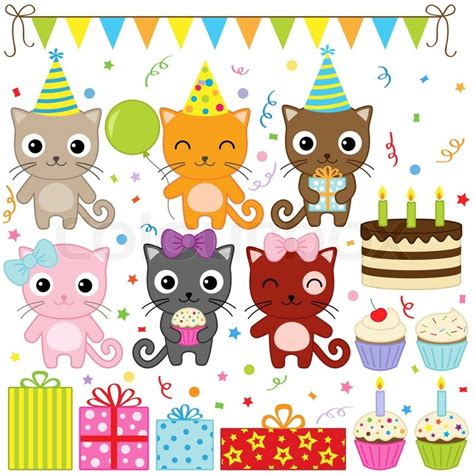 Home Balloon Decoration by Birthday Party Cats Stock Vector Colourbox