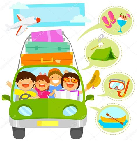 vacaciones imagenes movibles conjunto de dibujos animados de vacaciones familiares