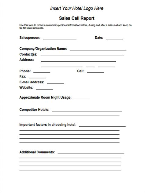 daily call report format xls edit fill out print download