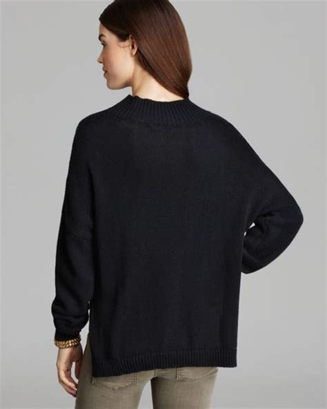 black cable knit sweater lna sweater cable knit turtleneck in black lyst
