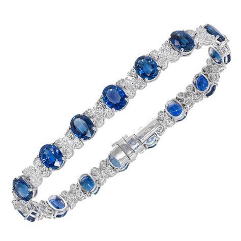 Blue Sapphire Bracelet cornflower blue oval sapphire white gold bracelet for sale at 1stdibs