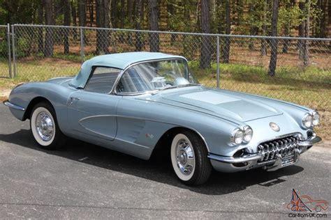 1958 corvette blue 1958 chevrolet corvette 2x4 s 245hp 4 speed frame
