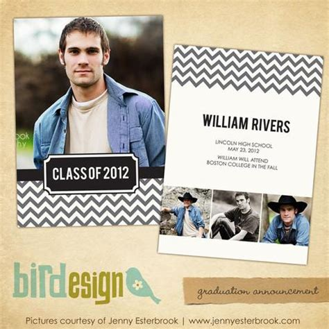 Modern Year Graduation Announcement Photoshop Templates For Photographers By Birdesign Digital Graduation Announcements Templates