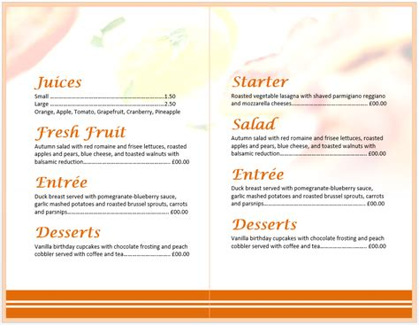 breakfast menu template word popular sle templates