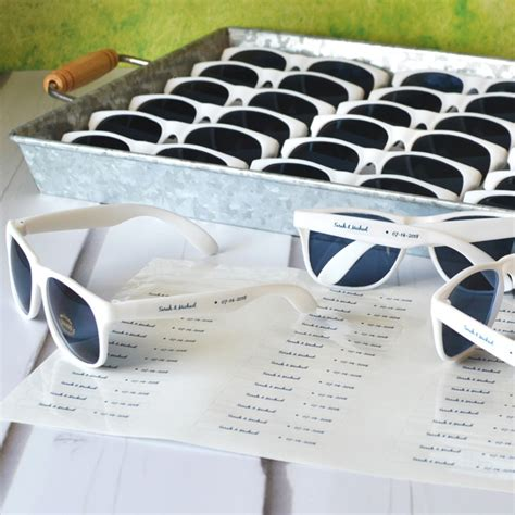 Wedding Favors Sunglasses by Personalized White Frame Wedding Sunglasses Favors