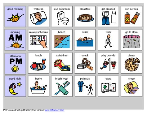 5 best images of printable visual schedules for autism