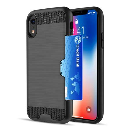 apple iphone xr by insten card to go plastic soft tpu rubber dual layer shock