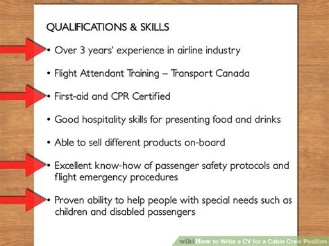cabin crew skills how to write a cv for a cabin crew position with pictures