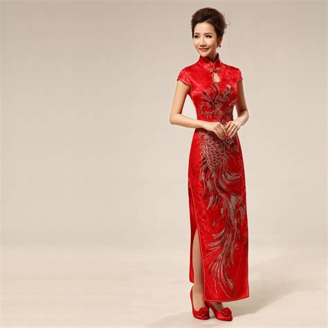Id Floral Cheongsam Lace Dress traditional brocade embroidered qipao