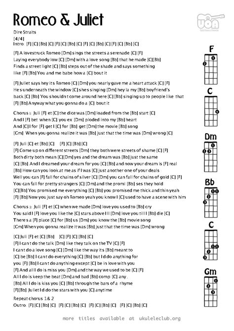 theme songs for romeo and juliet characters ukulele chords romeo and juliet by dire straits