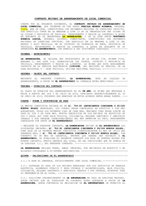 MODELO DE CONTRATO DE ALQUILER DE LOCAL COMERCIAL