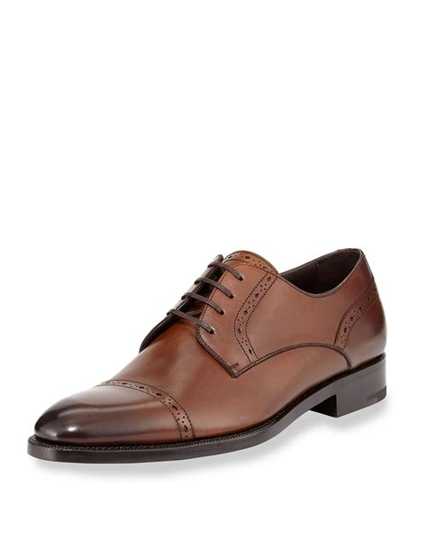 brown derby shoes ermenegildo zegna cap toe leather derby shoes in brown for