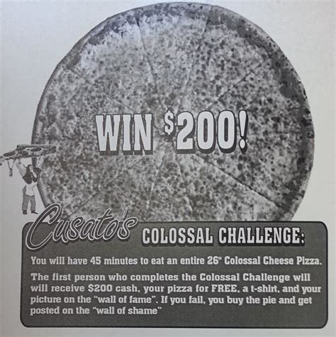 Cusatos by Cusato S 26 Quot Colossal Pizza Challenge Clifton Park
