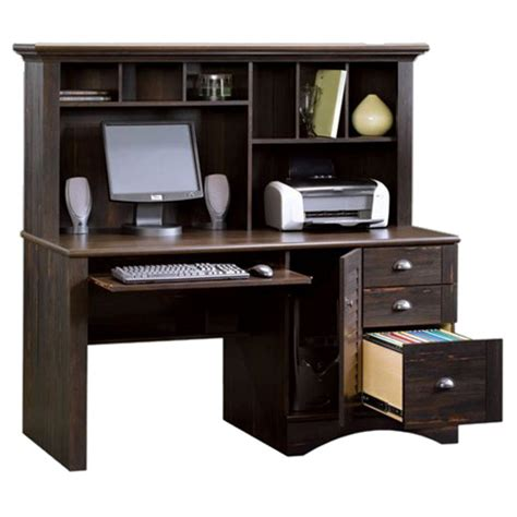 sauder computer desk with hutch sauder harbor view computer desk antiqued white finish